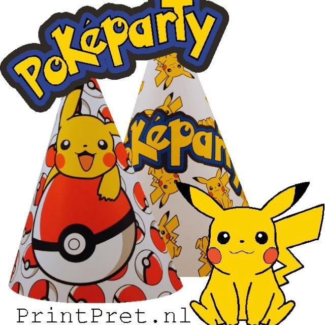 Pokemon feestje, feesthoedjes, versiering, cupcake wikkels, onderdeel van het doe het zelf Pokemon feestpakket van PrintPret.nl #pokemon #pickachu #traktatie #kinderfeestje #feestpakket #diy #printpret www.printpret.nl