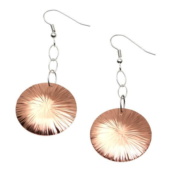 Amazing 7 Year Anniversary Gift  Chased Copper Dangle Disc Earrings 7th Anniversary Gift For Her Seven Year Anniversary Gift Copper Anniversary Gift by johnsbrana https://www.etsy.com/listing/451600184/7-year-anniversary-gift-chased-copper?ref=rss