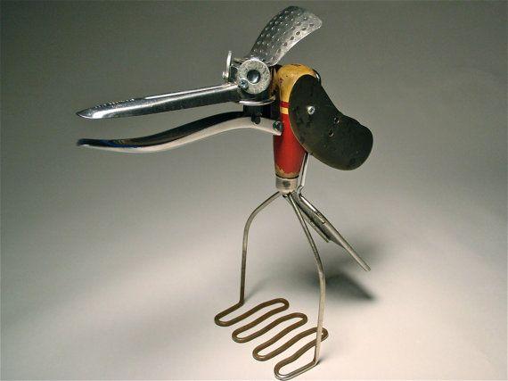 Grate Crane  - Bird Assemblage Art Robot Sculpture