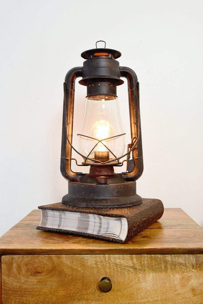 Dimmable Electric Lantern Table Lamp Large Rustic Rust Finish Lantern Table Lamp Lamp Electric Lanterns