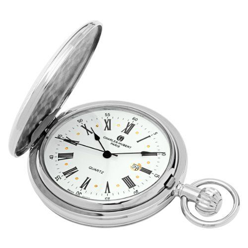 Charles-Hubert, Paris Quartz Pocket Watch Charles-Hubert, Paris. $72.00. Chrome finish brass 50mm hunter case with a matching curb chain. Deluxe gift box. White dial with date display. Swiss parts quartz movement. Save 31% Off!