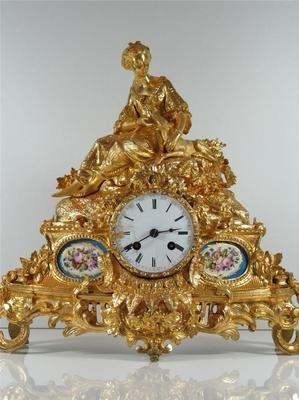 Antique Clocks :     Stunning Ormolu Porcelain French Antique Mantel Clock   eBay    -Read More –   - #Clocks