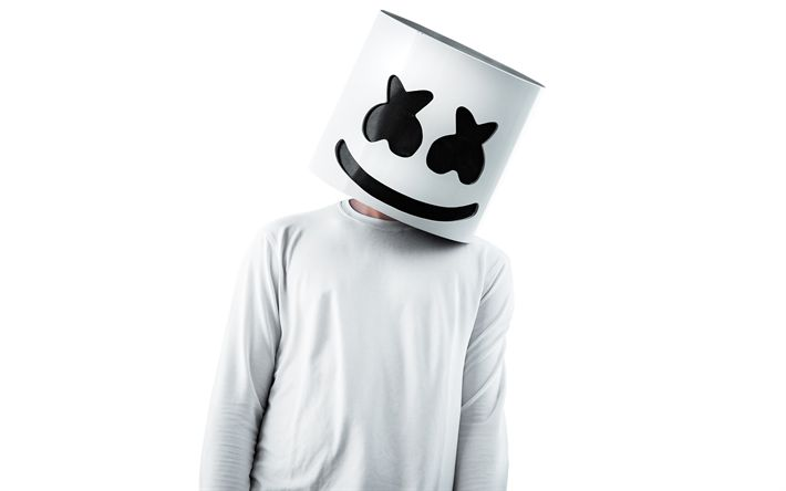 Descargar fondos de pantalla Marshmello, blanco backgroud, DJ, progressive house, superestrellas, DJ Marshmello