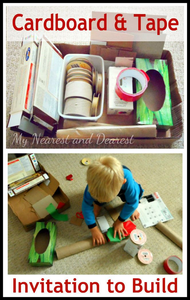 Invitation to build with cardboard and tape- I can only imagine the fun things kids could create!