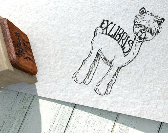 "EX LIBRIS Stamp ""Funny Lama"", Name Stamp, Gift Stamp, Logo Stamp, Custom Rubber Stamps 50x40 mm"