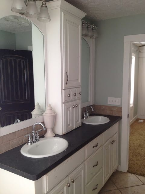 For the bathroom. His and hers with storage in the middle. Home by Heidi