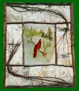 """""""Birds' Eye View: Red Cardinal in Pine Woods Clearing"""" Nature Scenes Art Print for Rustic Lodge Cabin Decor Home Interior Decorating"""