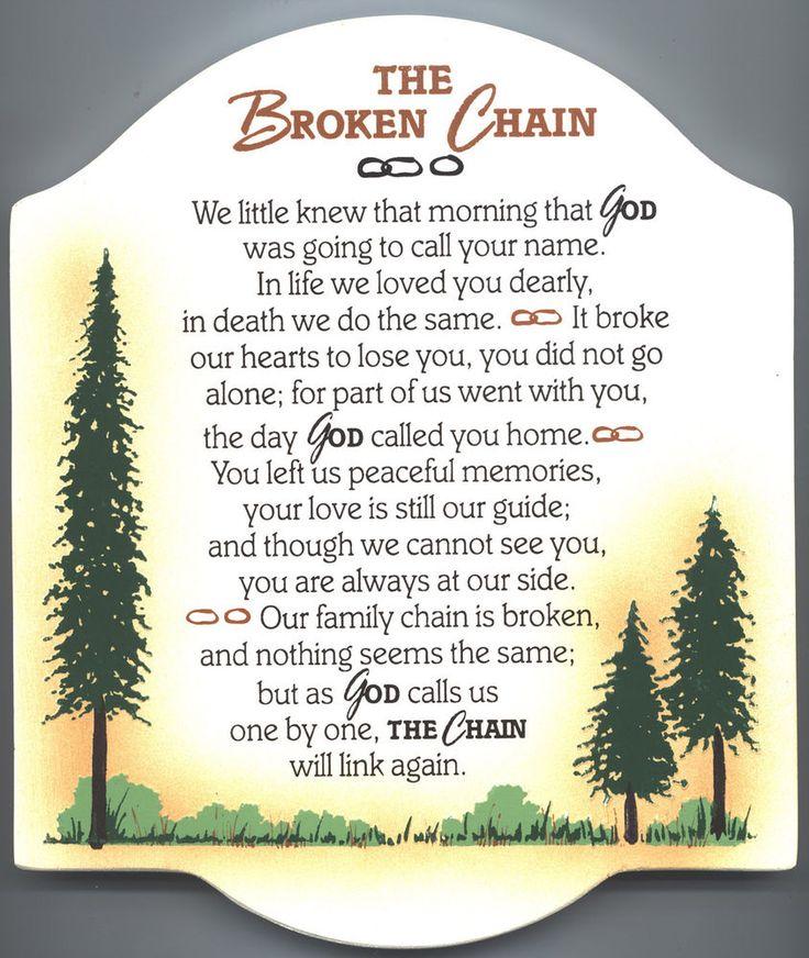 Broken Chain Poem Memorial Gifts Lifesong Milestones Lifesong