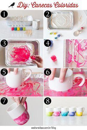 projeto diy de caneca colorida pintada com esmalte. Passo a passo em: http://weshareideas.com.br/blog/diy-pintando-canecas-com-esmalte/
