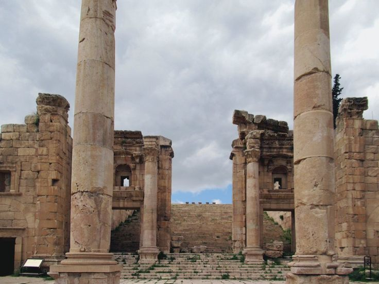 From the Propylaeum gateway on the Cardo Maximus, worshippers in the ancient Roman city of Gerasa, now Jerash, Jordan, would climb a monumental stairway to the Temple of Artemis.