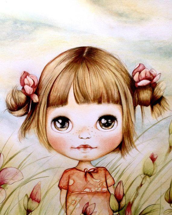 arte bambino stampa con magnolie