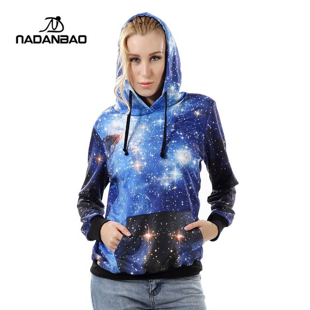 New Arrival Blue Galaxy Printed Hooded Sweatshirt Women moletom Sport Suit Hoodie Outside Woman Sudaderas WYC1002