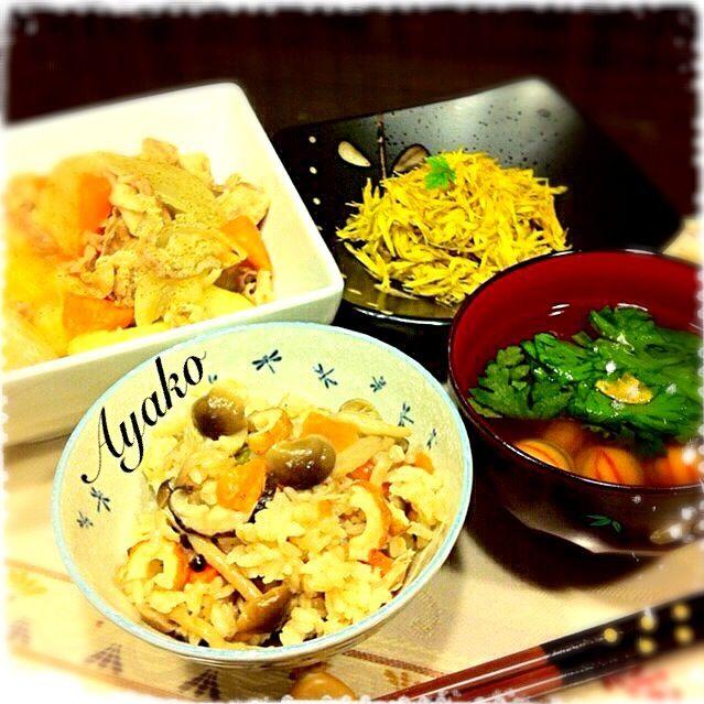 今日は、珍しく和食です。 和食は、得意ではないので余りアップしないのだけど…(^^;; まだまだ、勉強が必要ですね。 - 79件のもぐもぐ - ほっこり塩バター肉じゃが、きのこの炊き込みご飯、春菊とお麩のお吸い物、菊花あえ by ayako1015