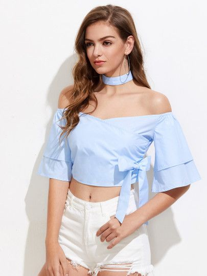 Bow Detail Crop Top With Choker Neck