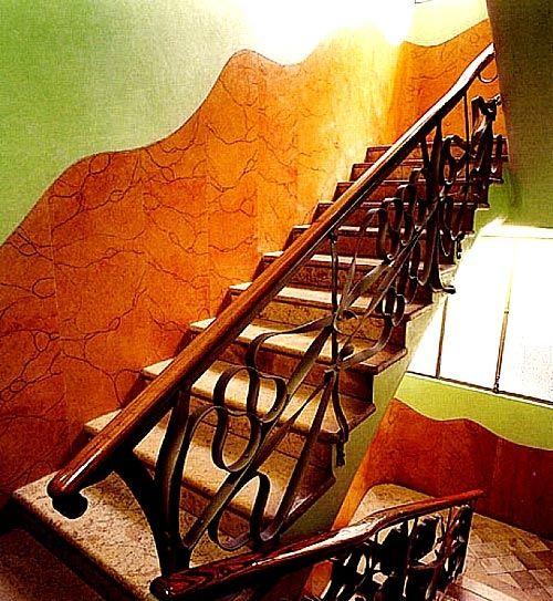 Casa Mila Wrought Iron Interior staircase, Barcelona, Spain, designed by Antoni Gaudi