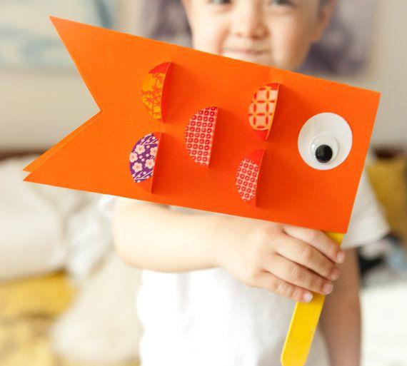Japanese Children's Day Carp Koi flag craft kit for toddler, kids, easy, mess free, puppet, birthday, party