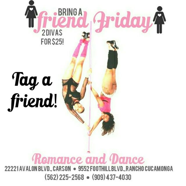 Today is Bring a friend for Free! $25 get 2 Divas a pole class!        Carson/ Rancho schedule    10am- 11am 11-am - 12pm 6pm - 7pm 7pm- 8pm     #RomanceAndDance #PoleClass  #fungym #Polestudent #GirlsHaveMusclesToo #GettingFit #FunWorkOut #Gym #GettingFit #GirlsHaveMusclesToo #losingWeight #fungym #iHateTheGym #PoleDoesTheBodyGood