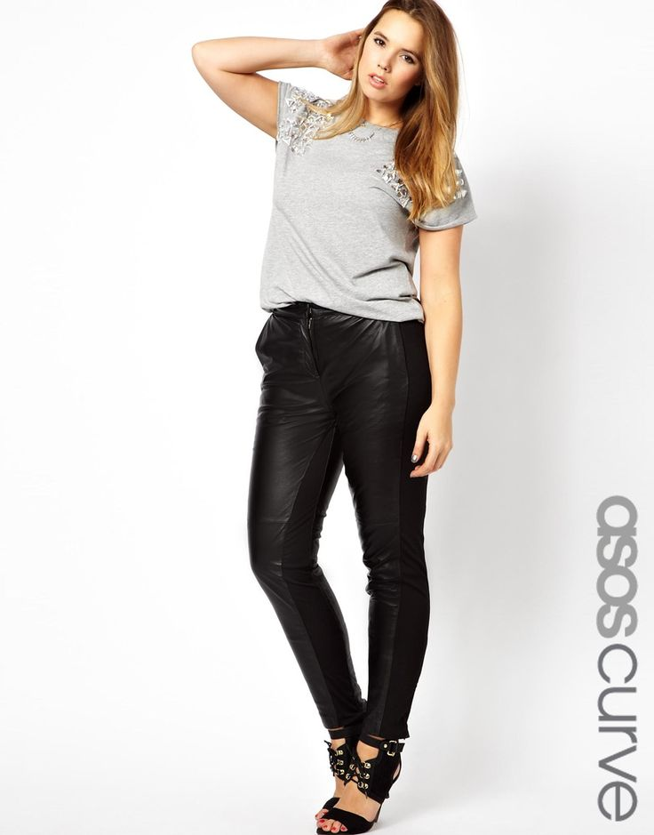 ASOS CURVE - Leather Trouser