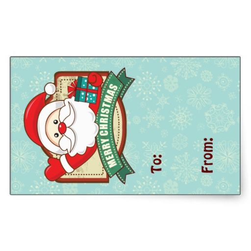 Santa Greetings Merry Christmas Gift Label Rectangle Stickers