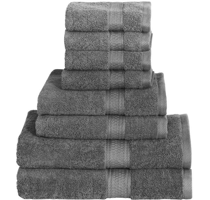 8 Piece Towel Set (Grey); 2 Bath Towels, 2 Hand Towels & 4 Washcloths 100% Cotton Bath Towel Bath Sheet Hand Towel washcloth wash cloth By Utopia Towels