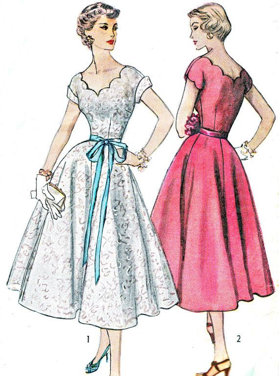 1950s Dress Pattern Simplicity 4295 Scalloped Sweetheart Neckline Full Skirt Evening Dress Junior Teen Vintage Sewing Pattern Bust 30