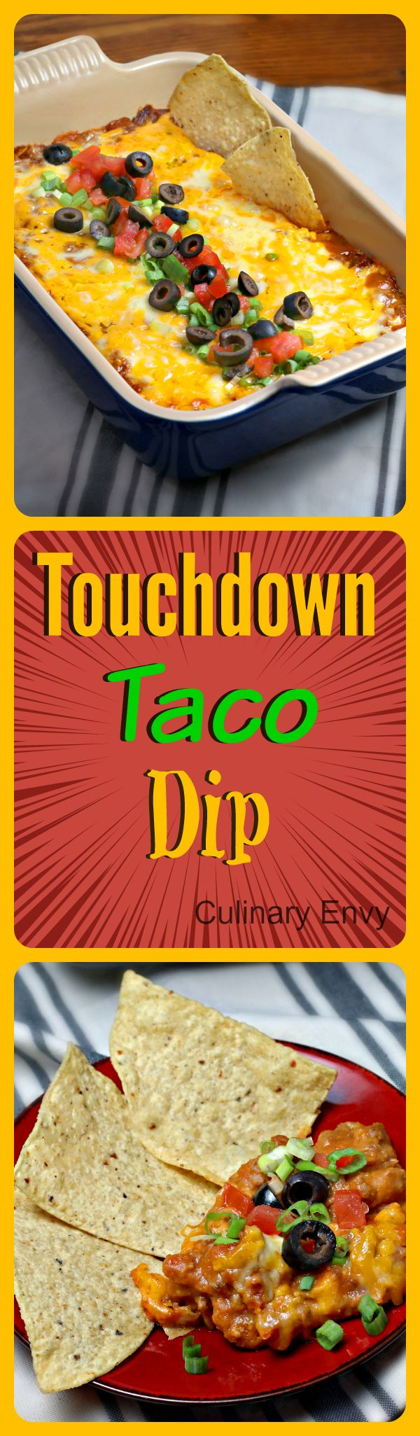 Touchdown Taco dip is the perfect hardy bean dip to root on your favorite team. One different ingredient makes all the difference! Way more PIZZAZZ than regular bean dip alone. Simple to make and bake.