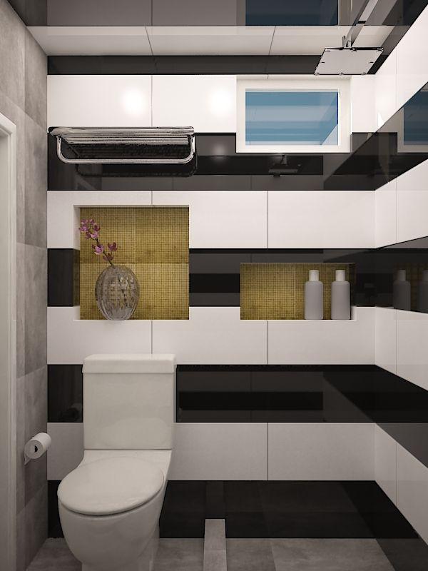 Muro blanco y negro piso gris detalles dorados mis for Suelo negro brillante
