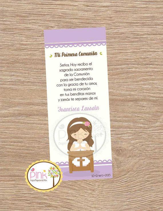 First Communion Favor Cards/ Bookmark / Baptism Girl /