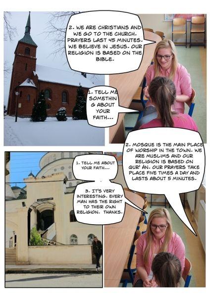 Uczniowie pani Aleksandry Klaman-Chmielewskiej z Technikum w Sierakowicach zajęli się w ramach swojego projektu tolerancją. Temat wymyślili sami. Nawiązali współpracę ze szkołą turecką, z którą wspólnie stworzyli ciekawe komiksy poruszające tematykę tolerancji i praw człowieka. Planowanie - http://szkolazklasa2012.ceo.nq.pl/dokument_widok?id=1255, realizacja - http://szkolazklasa2012.ceo.nq.pl/dokument_widok?id=1256, prezentacja - http://szkolazklasa2012.ceo.nq.pl/dokument_widok?id=1257