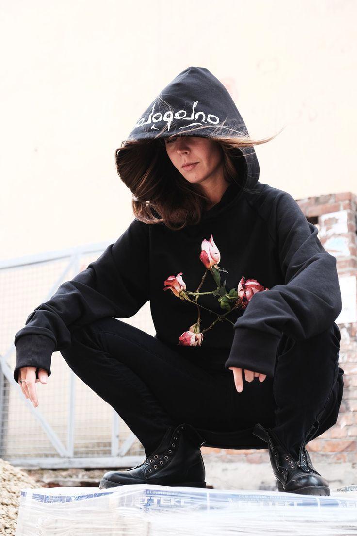 Roses Long Hoodie, Long sleeves black hoodie, Unisex Hoodie, Oversize Hoodie,Fashionable Hoodie, Women's Hoodie,Harajuku style, Gothic Trend by LikeShop2U on Etsy