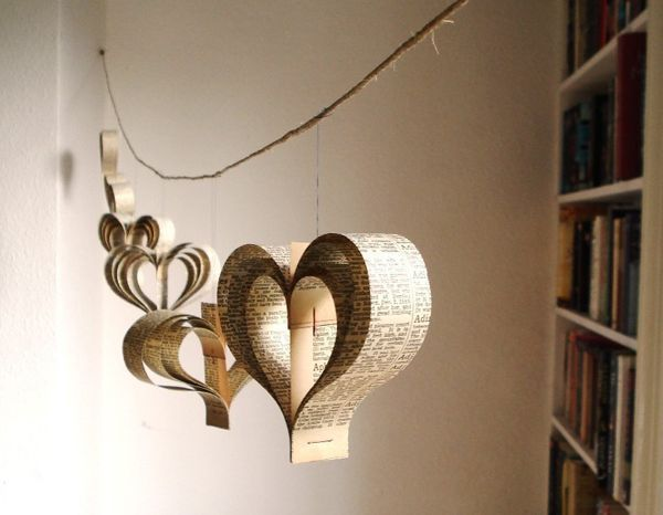 #Recycled paper hearts hanging wedding decor = perfect for a #greenwedding!