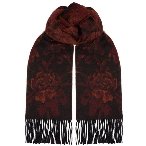Burberry Shoes & Accessories Patterned Rose Scarf (4.455 RON) ❤ liked on Polyvore featuring men's fashion, men's accessories, men's scarves, mens cashmere scarves and burberry mens scarves