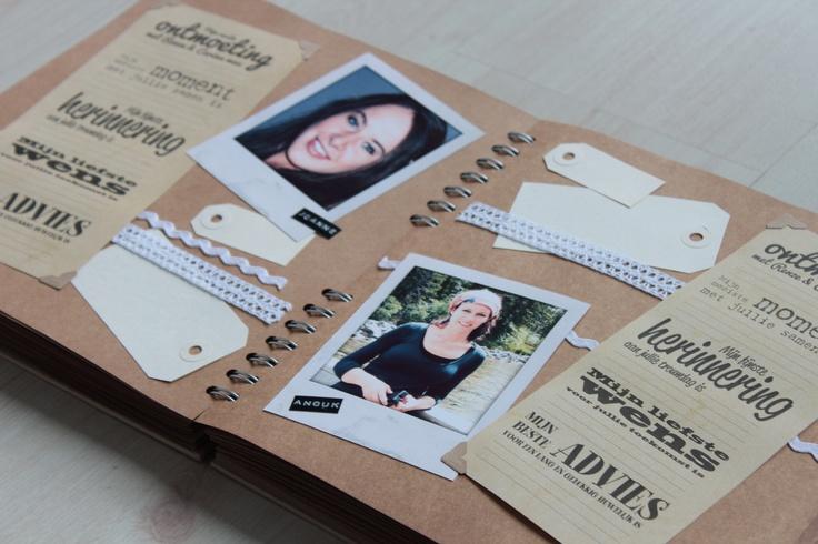 Spreadpagina van een persoonlijk gastenboek op kraftpapier voor je bruiloft/huwelijk