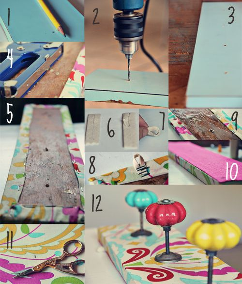 12 Creative DIY Coat Racks • A round-up of some really great coat rack projects with lots of tutorials! Including this artsy fabric covered coat rack project from 'natalia rosin'.