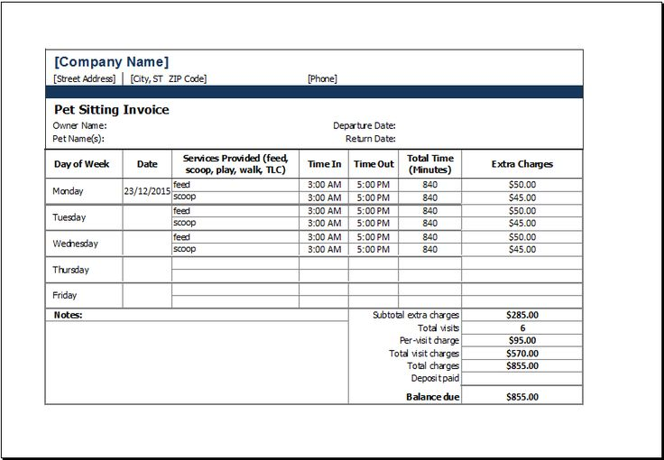 pet sitting invoice template at xltemplates org