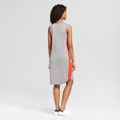 Women's Sporty Dress with Side Stripe Gray with Orange Stripe Xxl - Mossimo