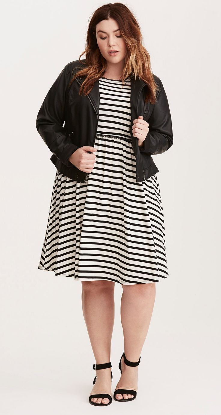 Plus Size Striped High Neck Lace Trim Skater Dress