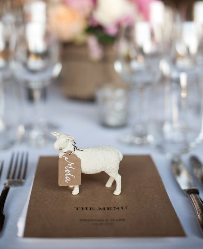 What a cute idea for a barnyard wedding! Keep your theme consistent by spray painting all your animals the same colour.