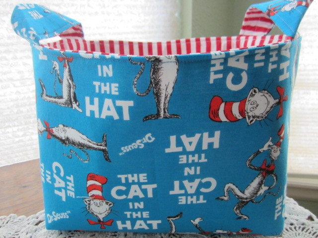 Reversible Organizer Fabric The Cat in The Hat Dr Seuss Basket Bin storage. $18.00, via Etsy.: