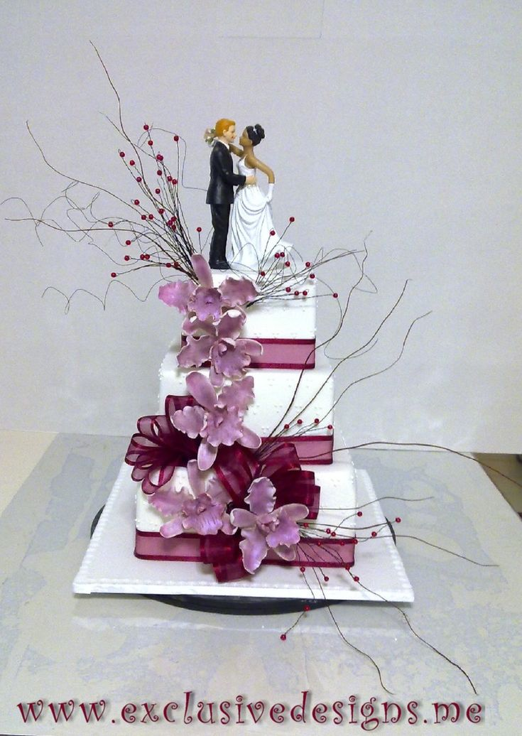 Three Tiered Classic Square Wedding Cake, With Purple Handmade Orchids