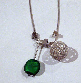 Pendant Sterling Silver & 24ct gold, kumboo & titanium green venetian bead necklace by Felicity Peters