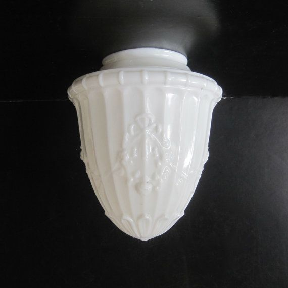 Antique Milk Glass Embossed Ceiling Shade by Hallingtons on Etsy