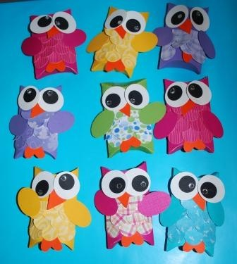 Create fun little owl pillow boxes and fill them with goodies. Site also has other