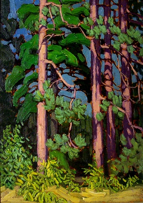 "Lawren Harris, Group of Seven, Canadian Artist, ""Trees, Algonquin Park"""