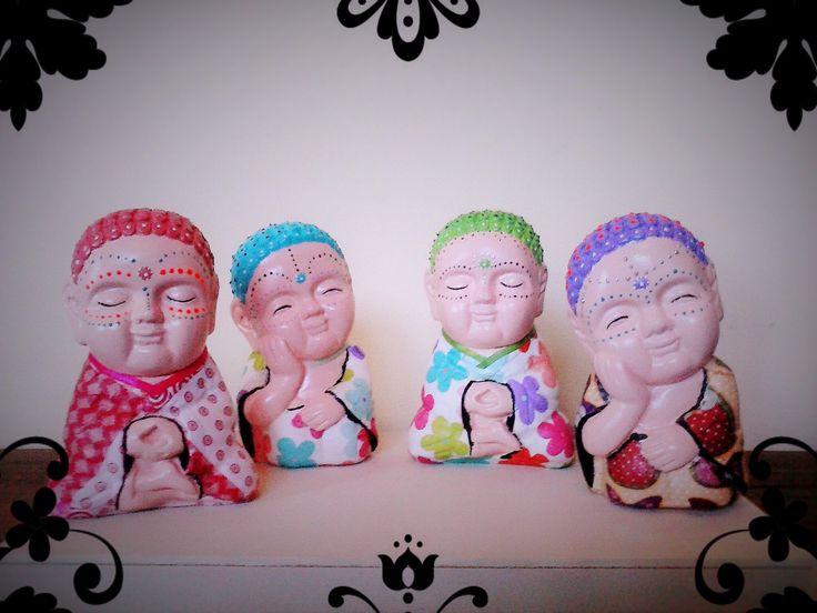 Mini buditas pintados a mano y decoupage. Florarte objetos.