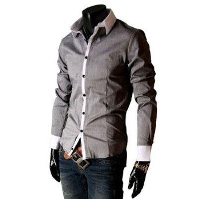 Mens Tight-fitting Long Sleeve 2012 NEW Trendy Shirt Tops Light Gray S