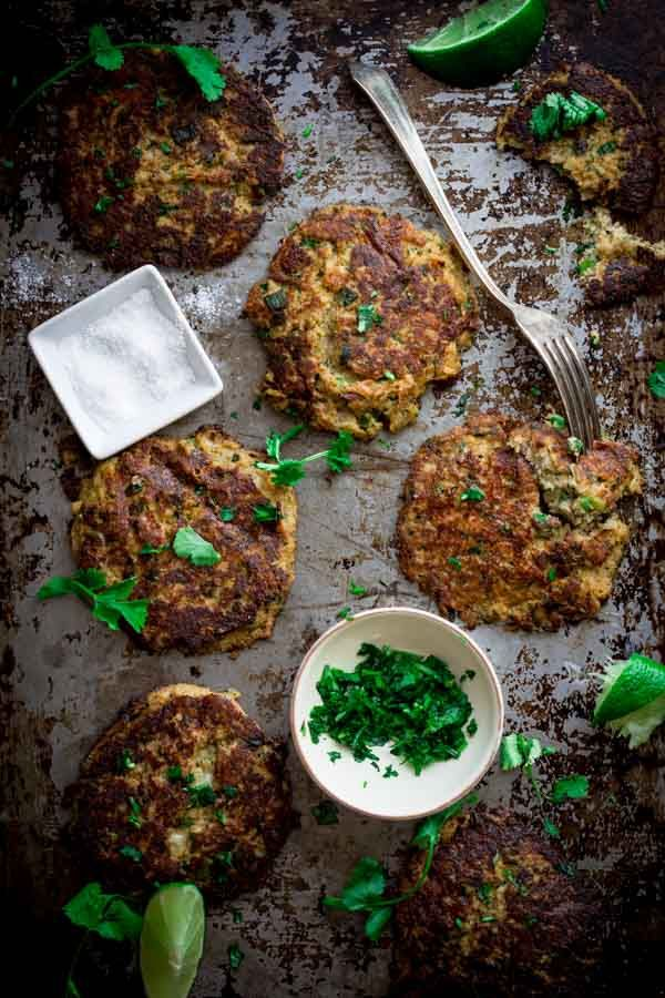 Low-Carb Mexican Cauliflower Patties {vegetarian} | HealthySeasonalRecipes.com by Katie Webster