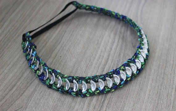 Adult Headband, Colorful Green Handmade Headband, Pop-Tab Headband, Crocheted with Recycled Soda Tabs, Sustainable Necklace or Headband