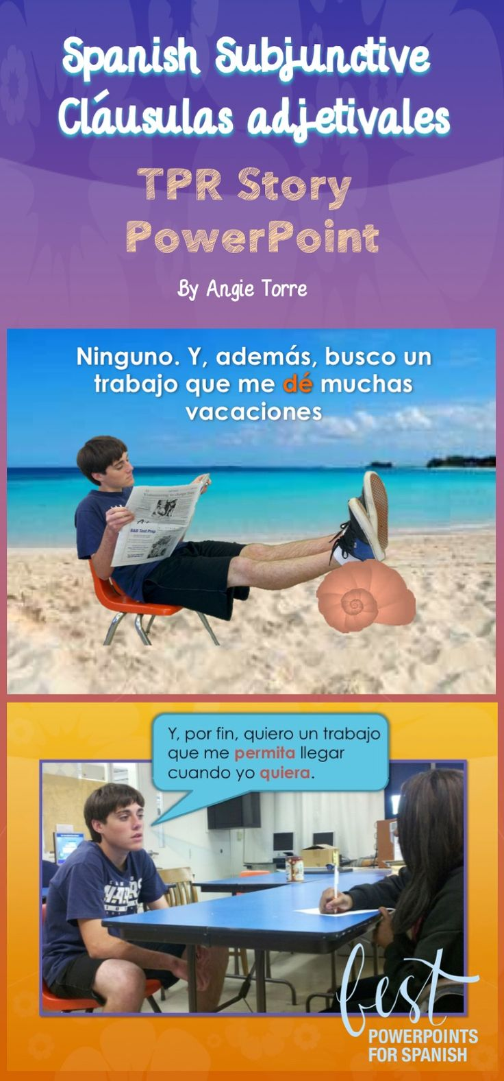 This 25-slide Subjunctive Cláusulas Adjetivales TPR Story PowerPoint provides many examples of the Spanish subjunctive with cláusulas adjetivales. Paco, in his search for a job, goes to visit he career counselor. She asks him questions to help him decide what career to pursue. In the end, he does not get a job but he does get something from the counselor. Also included: activity in which students answer true or false; the password to open the Subjunctive PowerPoint