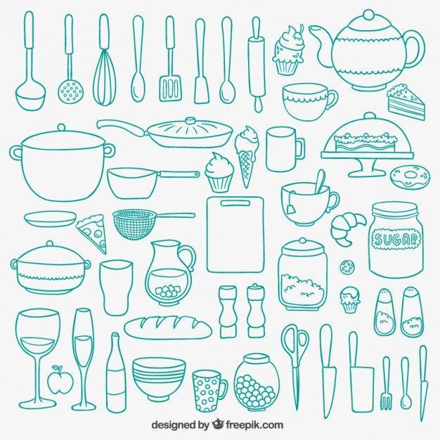 Mão de cozinha desenhada Vetor grátis
